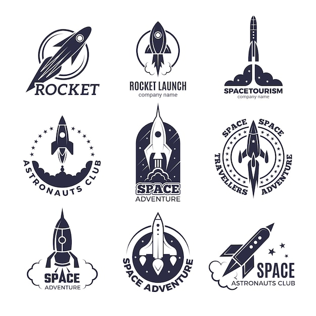 Space logotypes. rockets and flight shuttle moon discovery business retro badges vector monochrome pictures Premium Vector