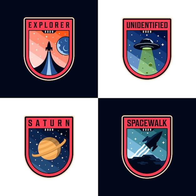 Space mission patches logo sets Premium Vector