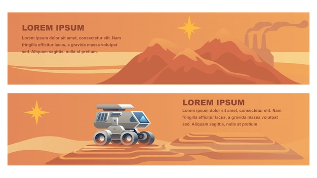 Space mission on red planet. Premium Vector