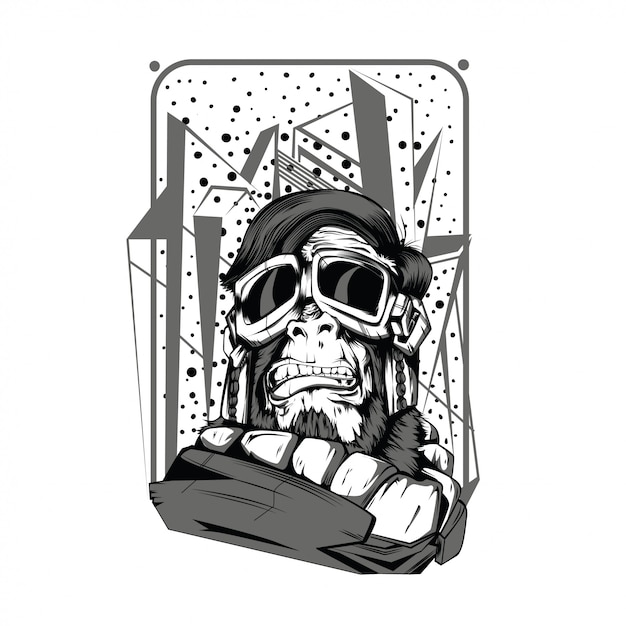 Space monkey black and white illustration Premium Vector