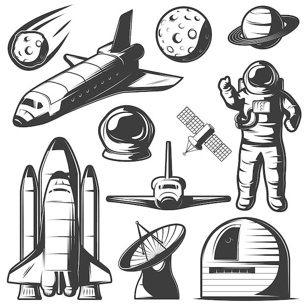 Космические монохромные элементы, установленные с космическими кораблями и ракетами, изолировали обсерваторию космических объектов и радар. Бесплатные векторы