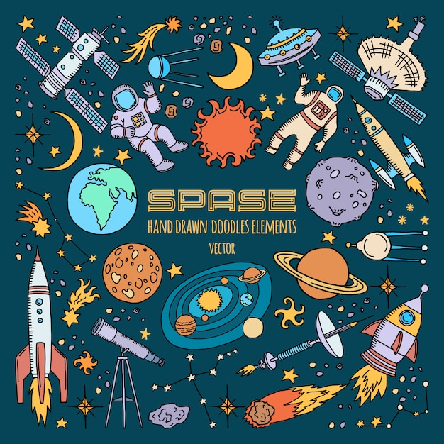Space objects in universe. vector hand drawn illustration. Premium Vector