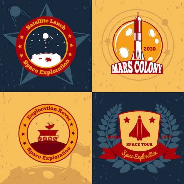 Space odyssey badge set Free Vector