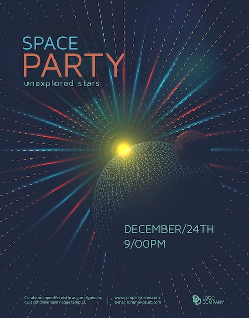 Space party poster Premium Vector