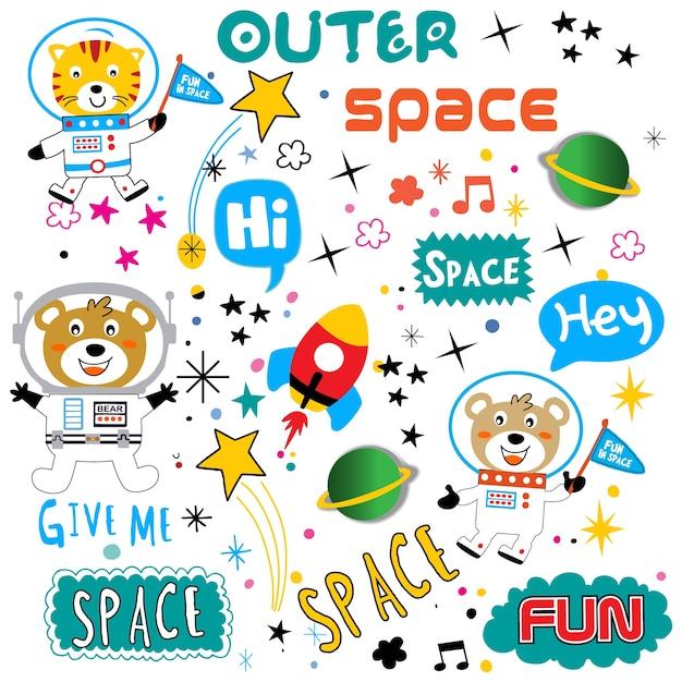 Space pattern animal cartoon vector Premium Vector
