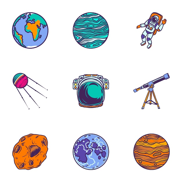 Space planet icon set. hand drawn set of 9 space planet icons Premium Vector