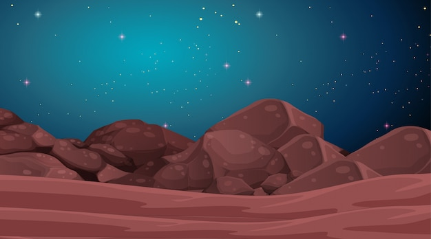 Space planet landscape scene Free Vector