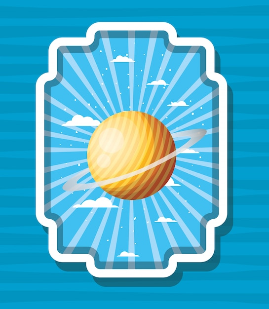 Space planet over striped label Free Vector