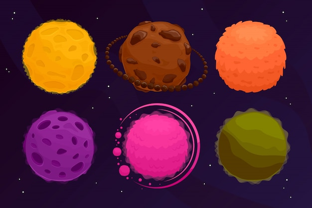 Space planets set. colorful fantasy asteroid and planet on black .  illustration . Premium Vector