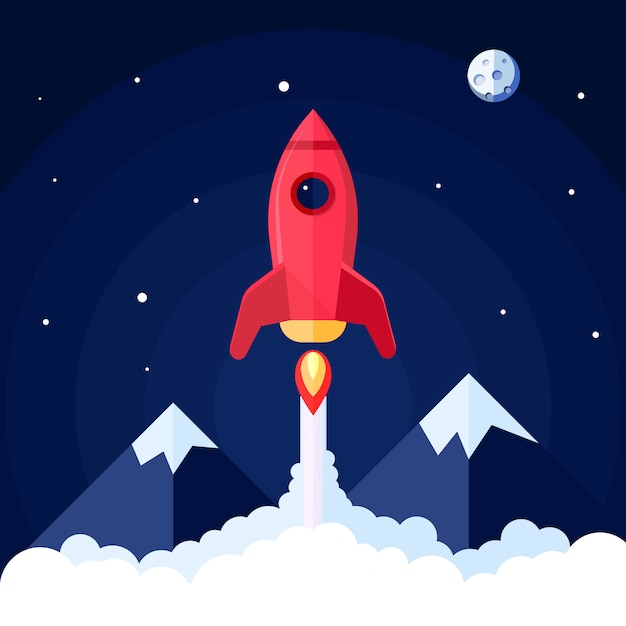 Space poster with rocket launch with mountain landscape on background vector illustration Free Vector