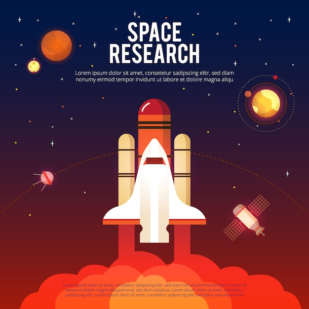 Space research and exploration Free Vector