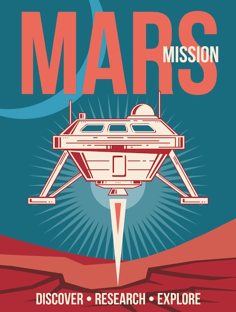 Space research poster. spaceship landing to mars vintage background. Premium Vector