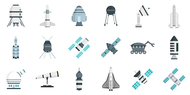 Space research technology icons set Premium Vector