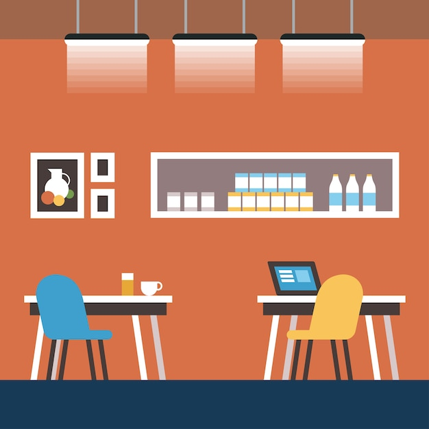 Space reservation and coworking cartoon flat. Premium Vector