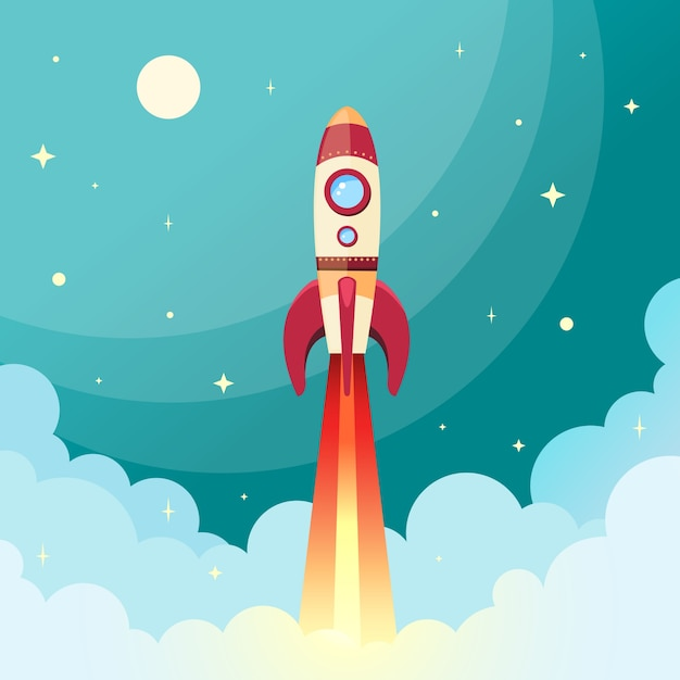 Space rocket flying in space with moon and\ stars on background print vector illustration