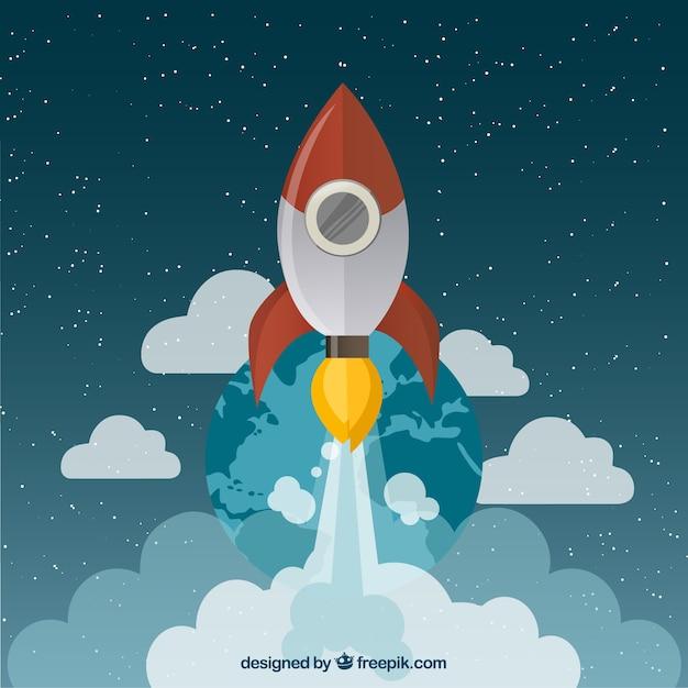 Space rocket flying in space