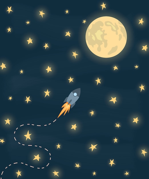 Space rocket flying to the moon Premium Vector