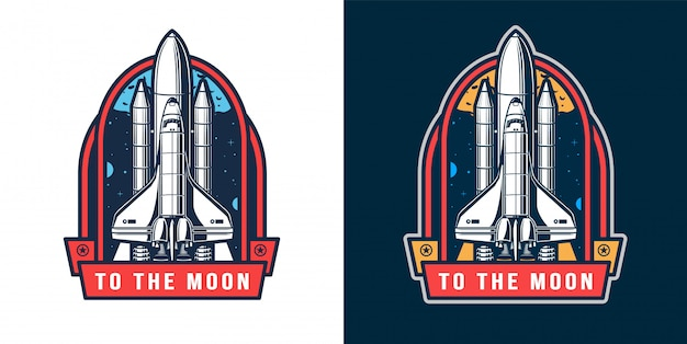 Space rocket launch badge set Free Vector