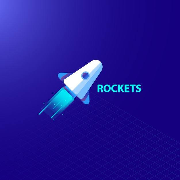Space rocket launch and galaxy light Premium Vector