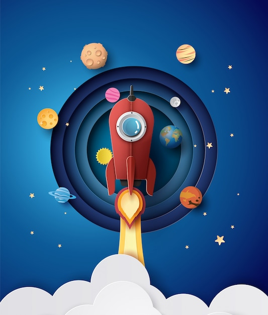 Space Rocket Launch And Galaxy . Vector