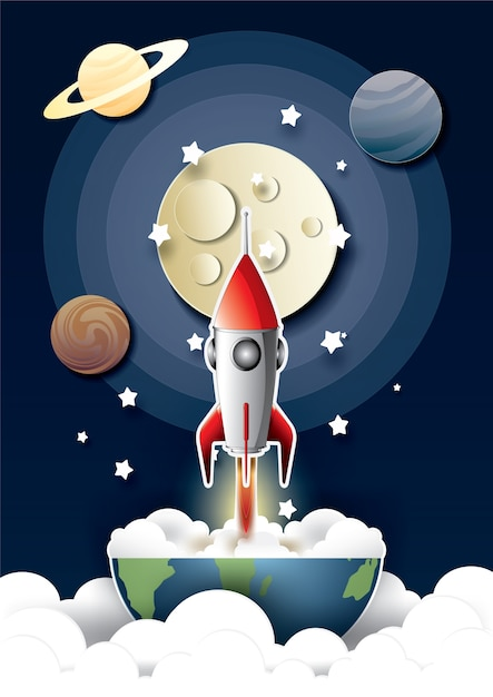 Space rocket launch and galaxy. Premium Vector