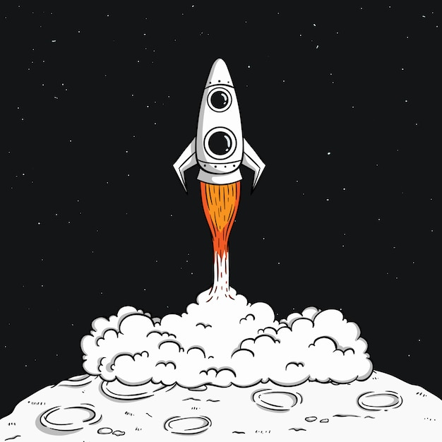 Space rocket launch on the moon with smoke and space illustration Premium Vector