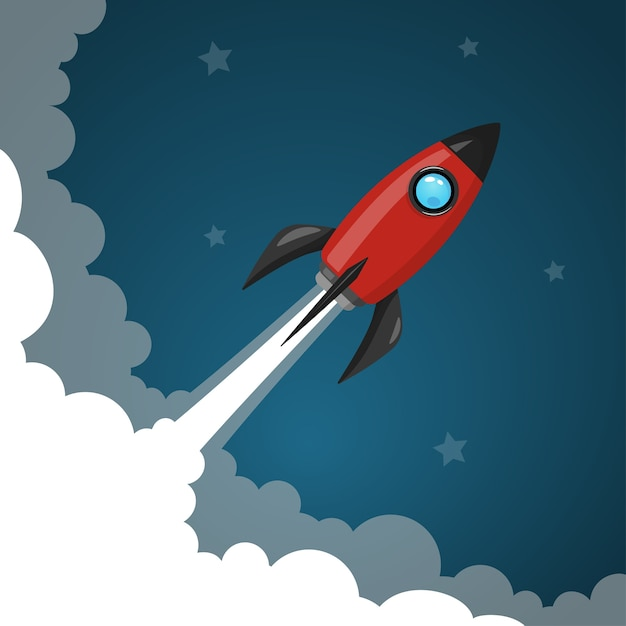 Space rocket launch to the night sky, stars and clouds on background. Premium Vector