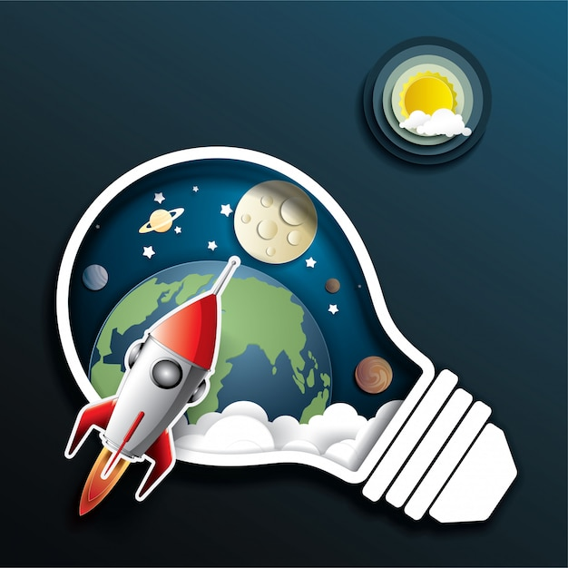 Space rocket launch Premium Vector