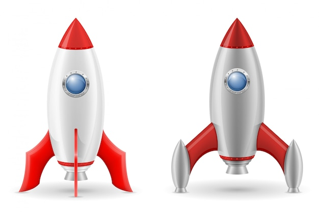 Space rocket retro spaceship vector illustration Premium Vector
