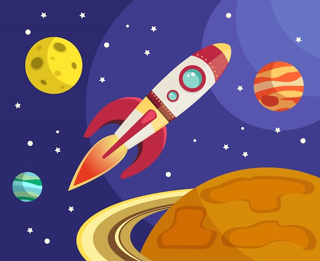 Space rocket ship flying in space with planets and stars vector illustration Free Vector
