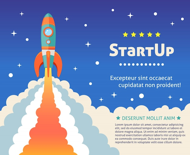 Space rocket ship start up cartoon futuristic\ background with stars on background vector illustration
