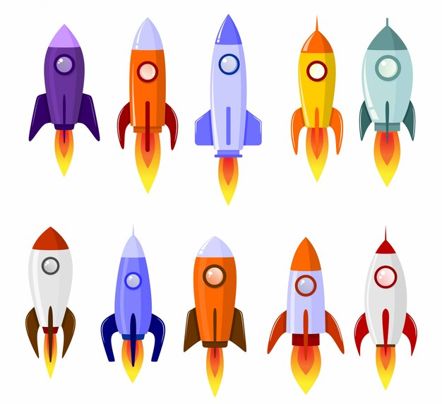 Space rocket start up concept launch symbol set Premium Vector