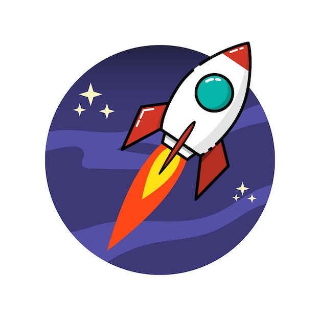 Space rocket in  style  on white background.  illustration Premium Vector