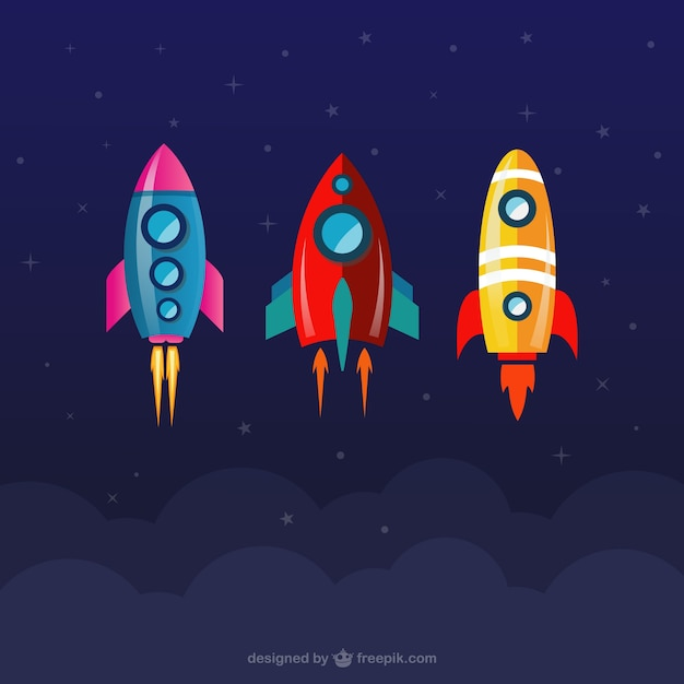 Space rockets collection Free Vector