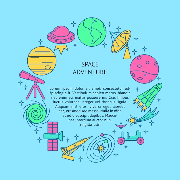 Space round concept banner in line style Premium Vector