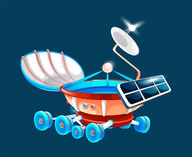 Space rover, moonwalker in universe, galaxy explorer, investigation of universe, expandable spacecraft Premium Vector