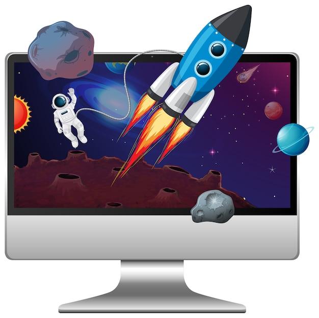 コンピューターのデスクトップ上の宇宙シーン Premiumベクター