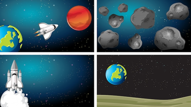 Space scene planet set Free Vector
