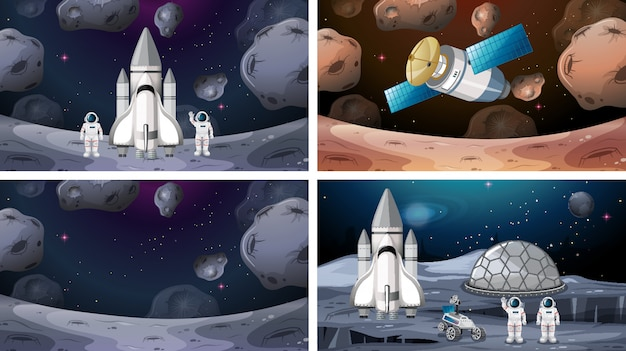 Space scenes with rockets on mars Free Vector