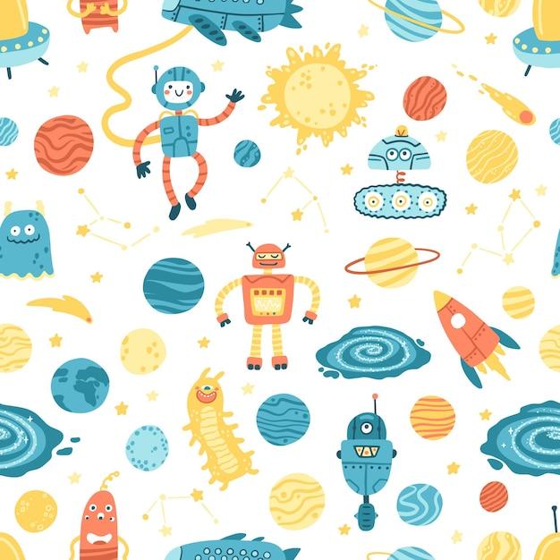 Космический бесшовный образец. галактика, планеты, роботы и пришельцы. Premium векторы
