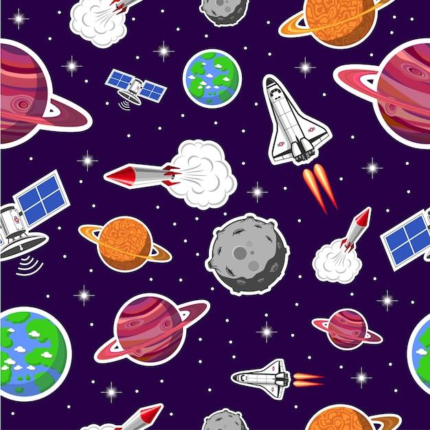 Космический бесшовный образец Бесплатные векторы