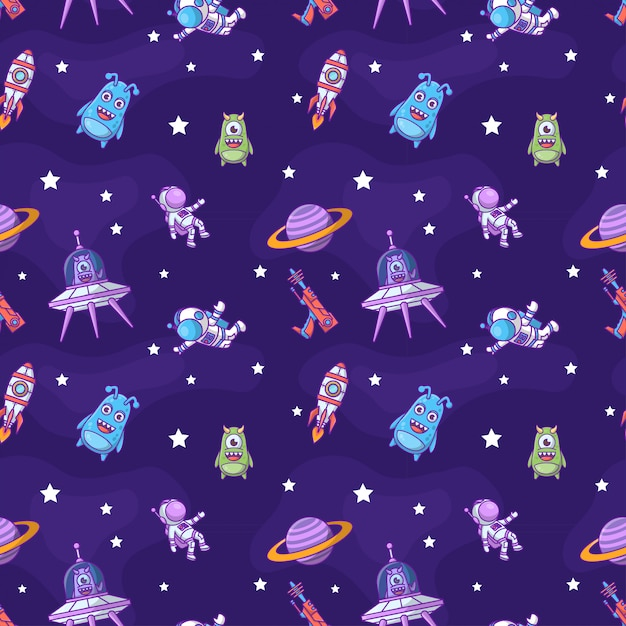 Space seamless pattern Premium Vector