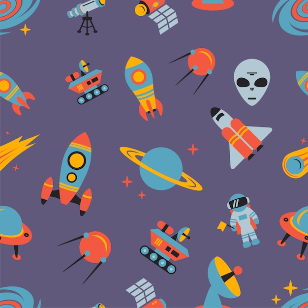 Space seamless pattern Free Vector