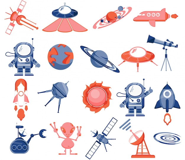 Space set, astronaut, alien, rockets, space planes, satellites, flying saucers, robot, planets, solar system, stars, rover, radar, sun, telescope. Premium Vector