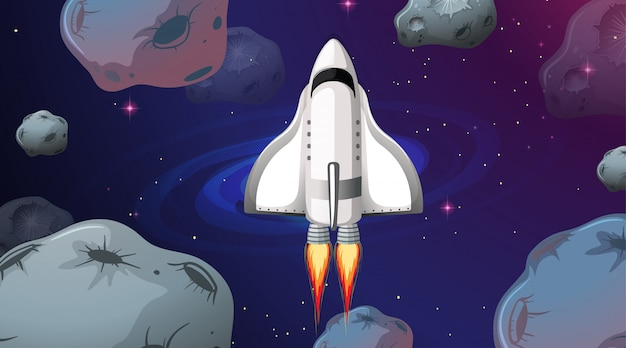 Space ship flying through asteroids Free Vector