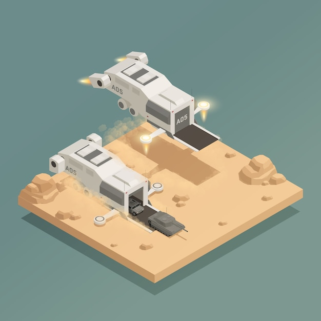 Space ship isometric composition Free Vector