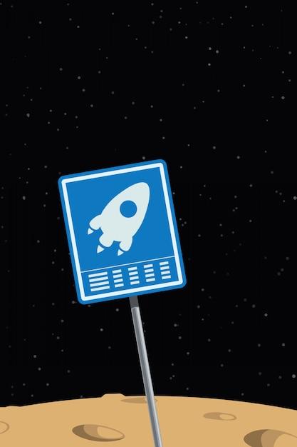 Space ship sign Premium Vector