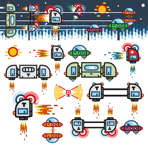 Space ships flat game level kit Premium Vector