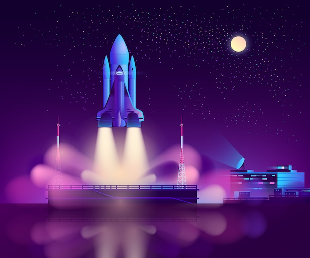Space shuttle launch from floating platform Free Vector