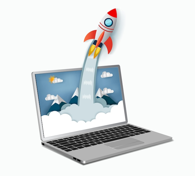 Space shuttle launch outside notebook screen. concept of business start-up. vector art and illustration paper Premium Vector